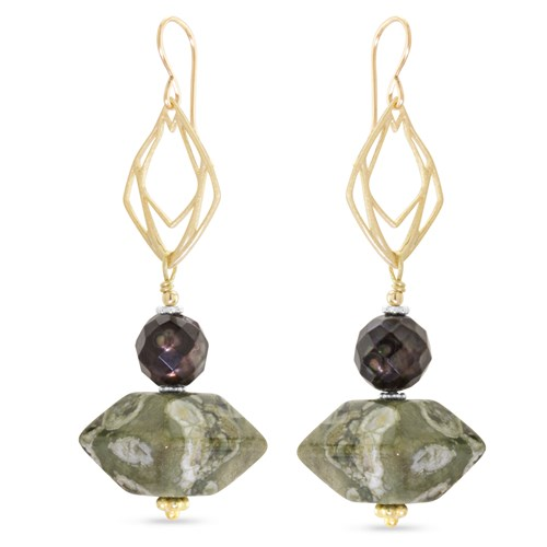 Faceted Pearl & Rhyolite Dangle Earrings 11206E