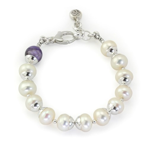The Goddess Collection Freshwater Pearl & Charoite Bracelet 10750B