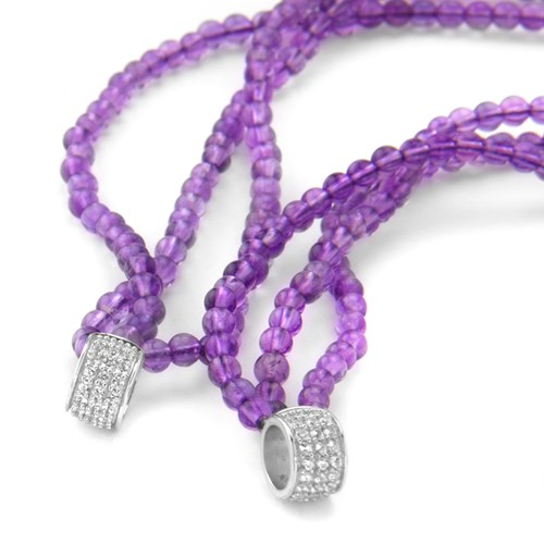 Petra Azar Triple Purple Strand White Sapphire Chain Detail