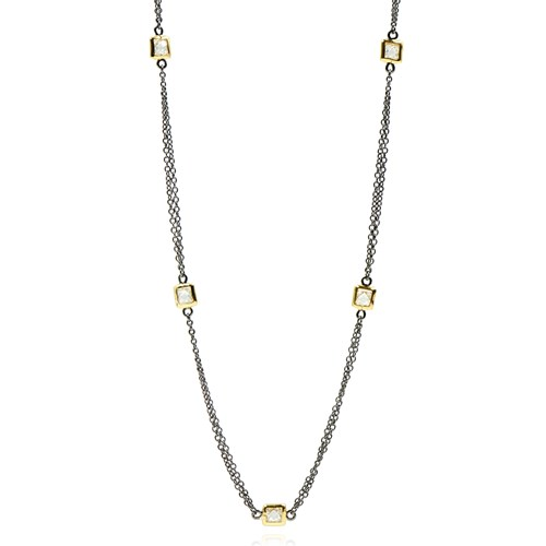Freida Rothman Square Bezel Station Triple Wrap Necklace Detail