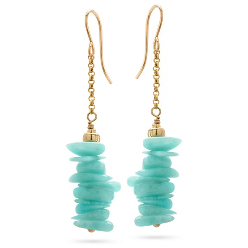 Amazonite Chips Stick Earrings