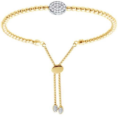Lindsay Oval Disc CZ Petite Friendship Bracelet Gold