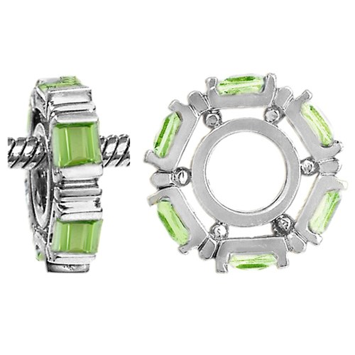Storywheels Peridot Small Princess Cut 14K White Gold Wheel Charm