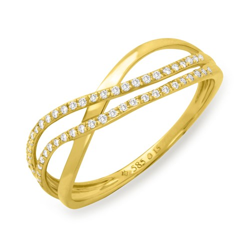 Crossover Double Diamond 14K Ring
