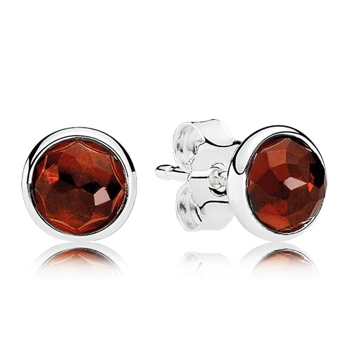 PANDORA January Droplets, Garnet Earrings
