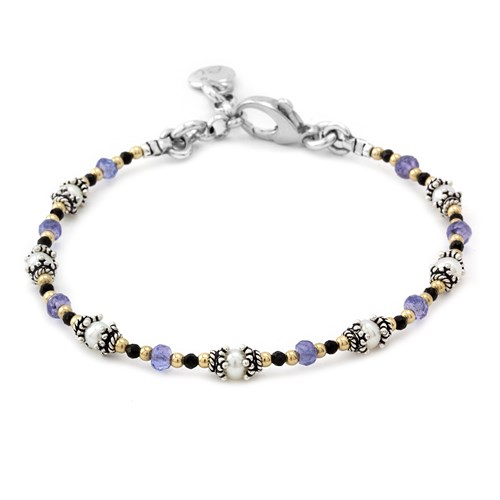 Black Spinel, Tanzanite and Pearl Bracelet