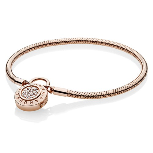 PANDORA Rose™ Moments Smooth Signature Padlock Bracelet 587757CZ