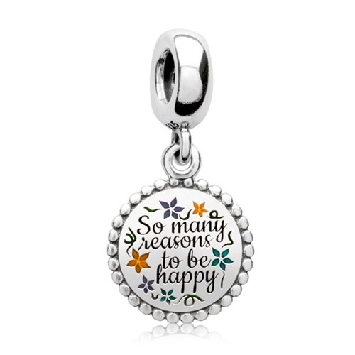 PANDORA There Are So Many Beautiful Reasons to Be HAPPY Dangle Charm