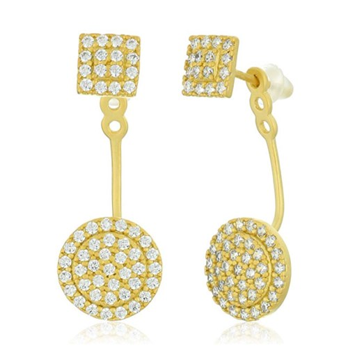 Freida Rothman Pavé Harlequin Disc Jacket Earrings