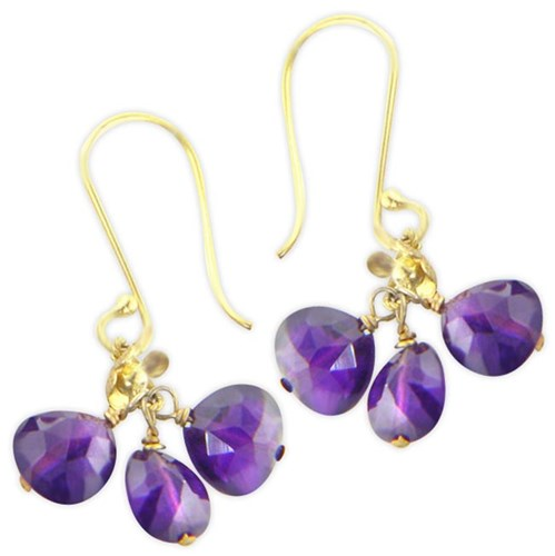 Elisa Ilana Amethyst Cluster Earrings