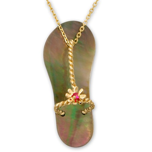 Galatea Ruby with Black Mother of Pearl Sandal Pendant