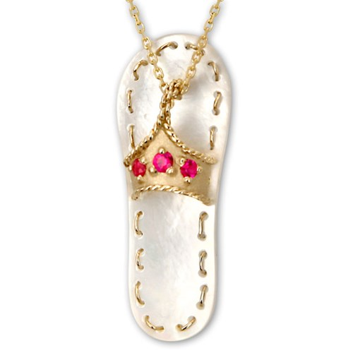 Galatea Ruby with White Mother of Pearl Flip Flop Pendant