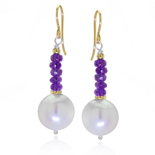 Impressionist Collection Amethyst & Pearl Drop Earrings 10907E