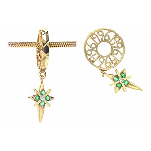 Storywheels Emerald Cross-Star Dangle Charm