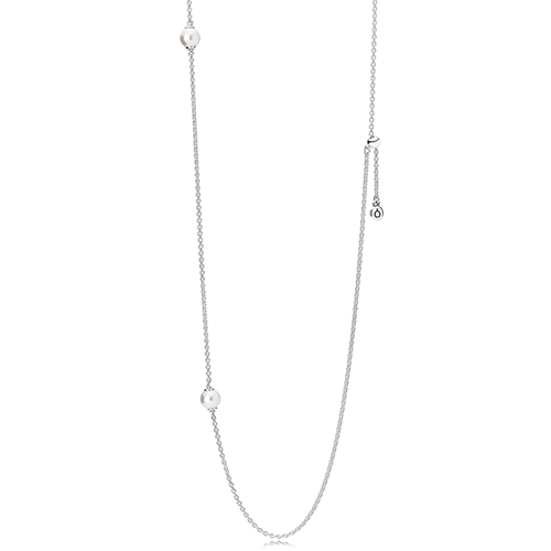 PANDORA Luminous Dainty Droplets, White Crystal Pearl Necklace