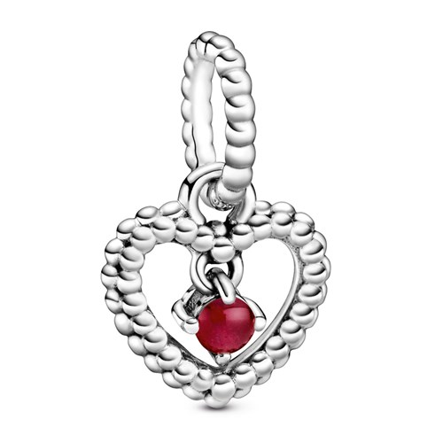 Pandora Dark Red Beaded Heart Dangle Charm 798854C08