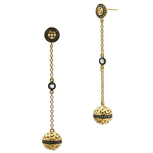 Freida Rothman Lattice Motif Axis Drop Earrings