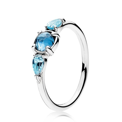 PANDORA Patterns of Frost, Moonlight Blue & Sky-Blue Crystal Ring