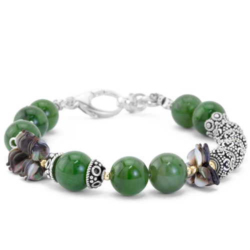 The Goddess Collection Jade & Flower Blossom Bracelet