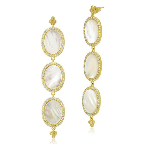 Freida Rothman Triple Oval Flat Mother of Pearl Slice Earrings