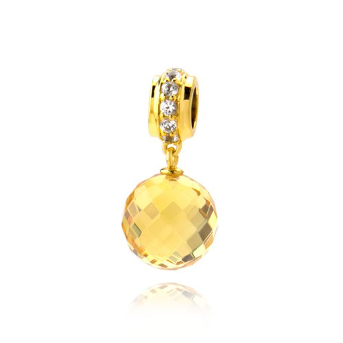 Petra Azar Round Yellow Sapphire Gold Dangle Charm
