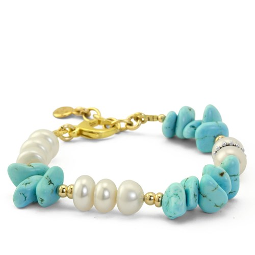 Impressionist Collection Chunky Turquoise & Pearl Bracelet 10843B2