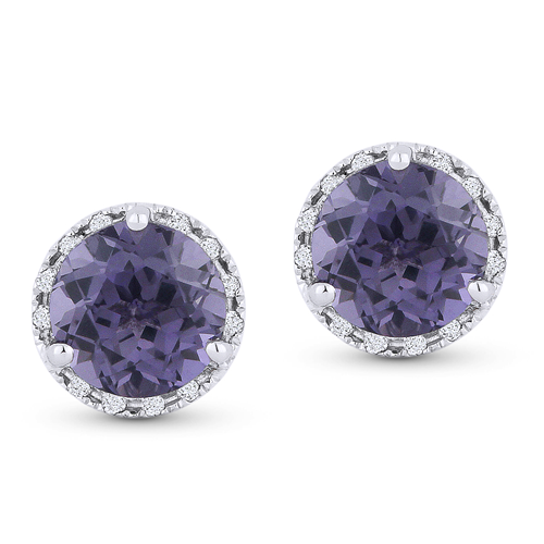 Alexandrite & Diamond 14K Earrings