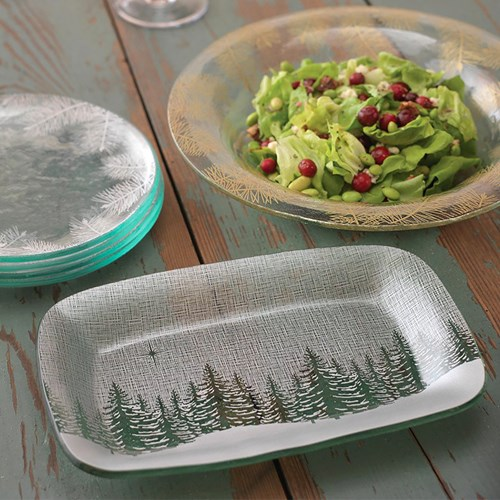 Annieglass Evergreen Appetizer Tray
