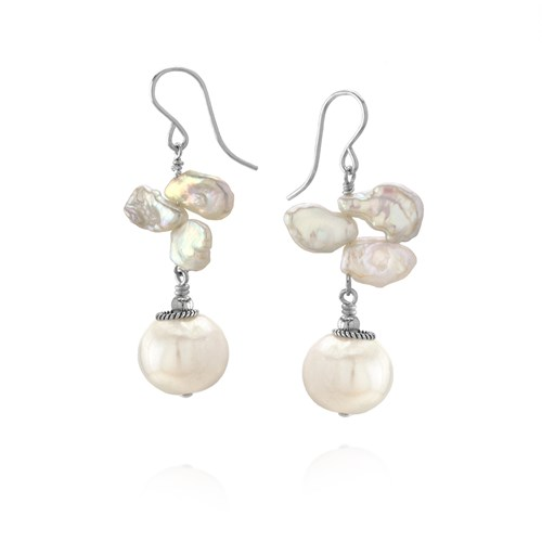 Elisa Ilana Keshi Pearl and Sterling Silver Earrings