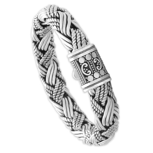 Mens Sterling Silver Braided Bracelet 320238