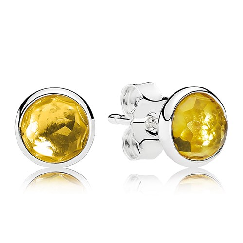 PANDORA November Droplets, Citrine Earrings