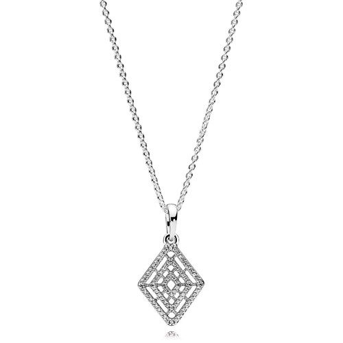 PANDORA Geometric Lines CZ Necklace