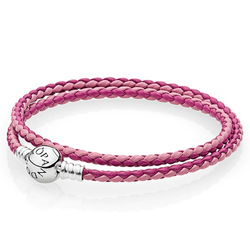 PANDORA Mixed Pink Woven Double-Leather Charm Bracelet