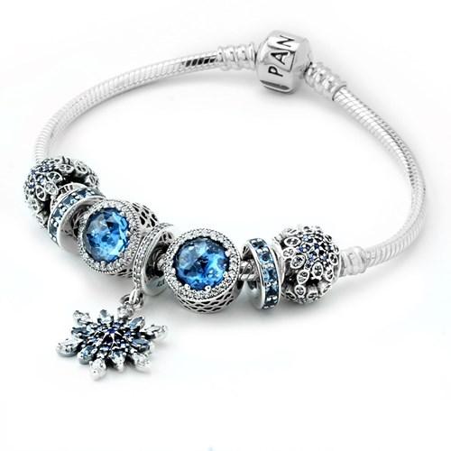 Pandora Blue Christmas Charm Bracelet