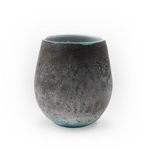 Viterra Glass Earth Tones Turquoise Vase-SMALL