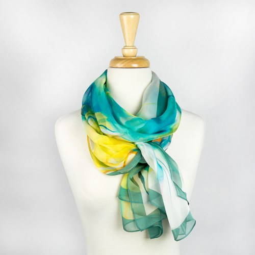 Green and Yellow Silk Scarf