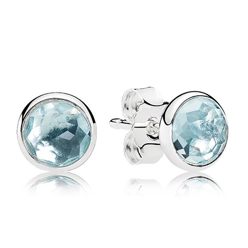 PANDORA March Droplets, Aqua Blue Crystal Earrings