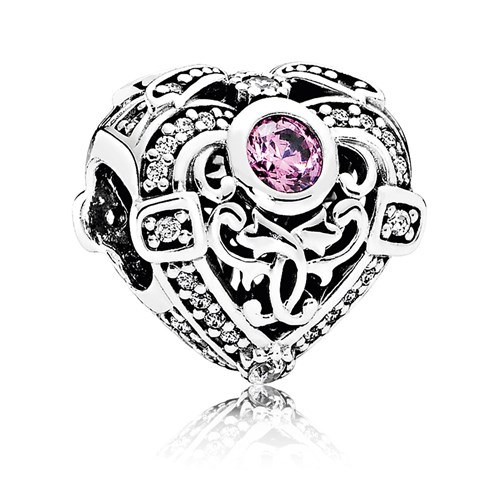 PANDORA Opulent Heart with Orchid & Clear CZ