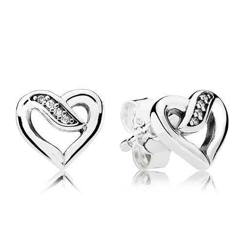PANDORA Ribbons of Love, Clear CZ Earrings