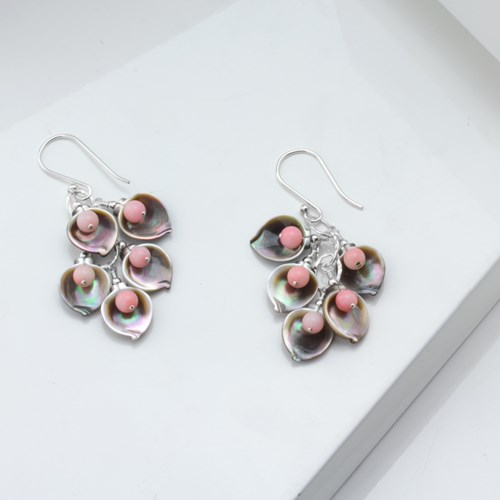 Impressionist Collection Mother of Pearl Petals & Pink Opal Earrings 10693E