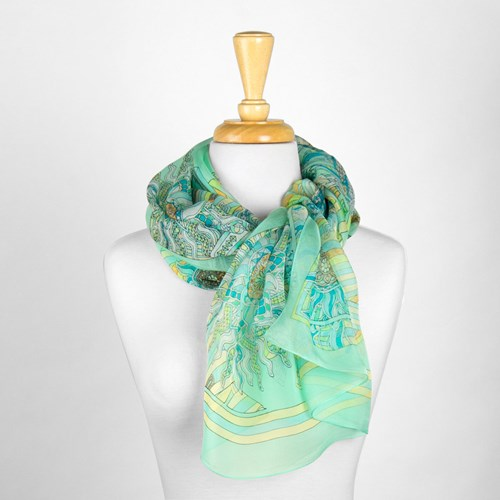 Light Green Design Silk Scarf