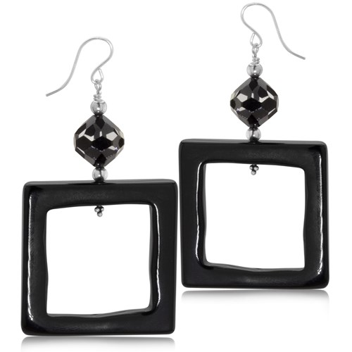 Onyx & Swarovski Crystal Dangle Earrings 11037E