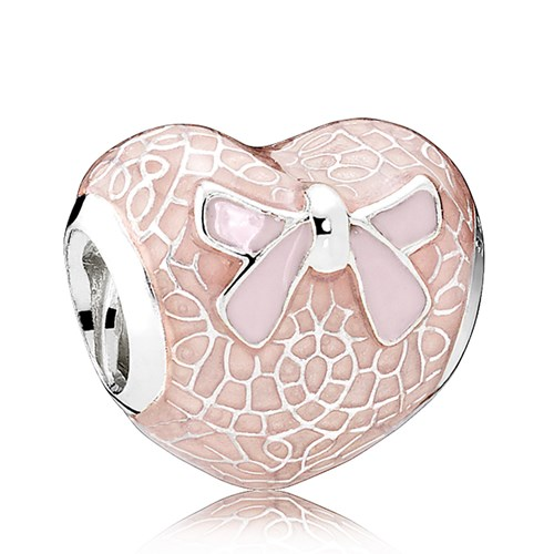 PANDORA Pink Bow & Lace Heart, Transparent Misty Rose & Soft Pink Enamel Charm
