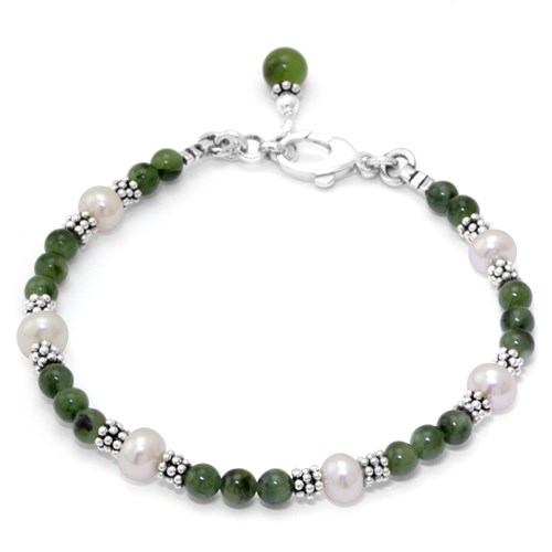 The Goddess Collection Jade & Pearl Bracelet 11034B