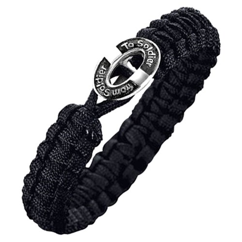 From Soldier to Soldier Black Button Clasp Bracelet