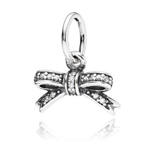 PANDORA Sparkling Bow with Clear CZ Pendant