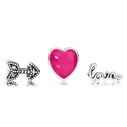 PANDORA Love Feelings Petites, Magenta Enamel & Clear CZ