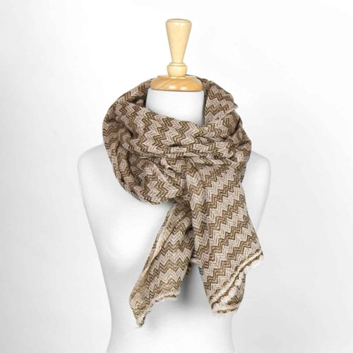 Brown Herringbone Unisex Wool Scarf 10314D