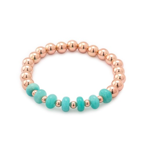 Impressionist Collection Smooth Amazonite & Rose Bracelet 10893B