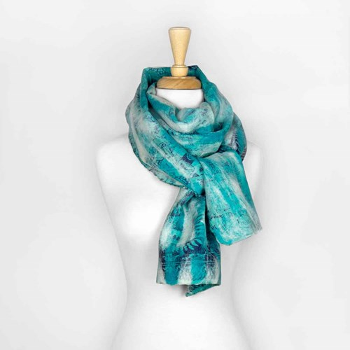 Blue Abstract Nuno Felted Scarf 10313F